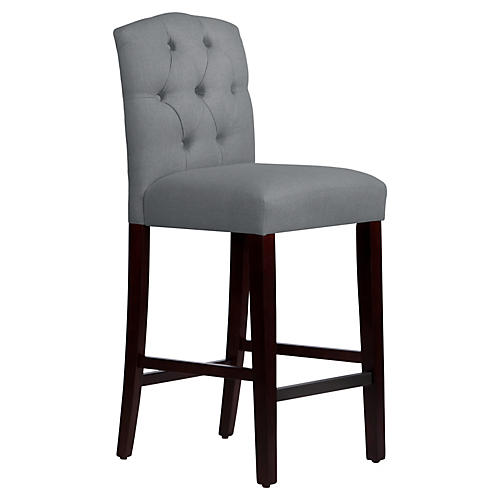 Leo Tufted Barstool, Gray Linen