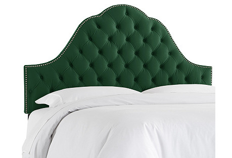 Alina Tufted Headboard, Emerald Velvet