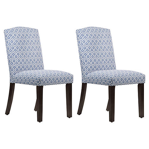 S/2 Marie Side Chairs, Periwinkle