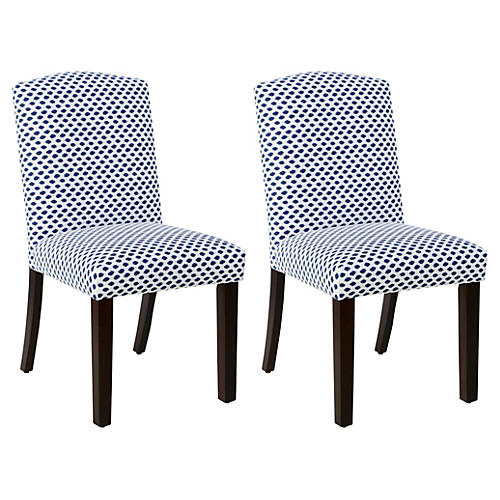 S/2 Marie Side Chairs, Navy Dot