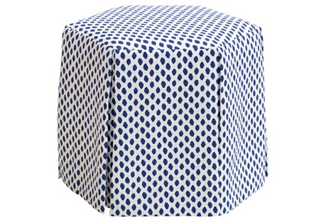 Nora Skirted Ottoman, Navy Dots