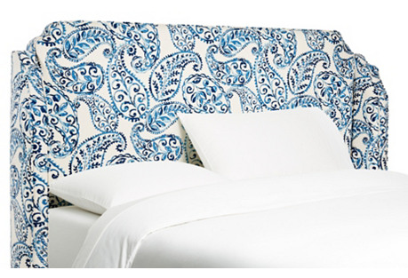 Blue Noelle Wingback Headboard, Queen