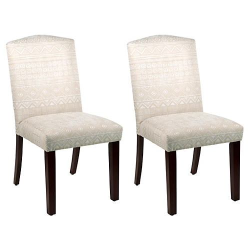 S/2 Marie Side Chairs, Natural Batik
