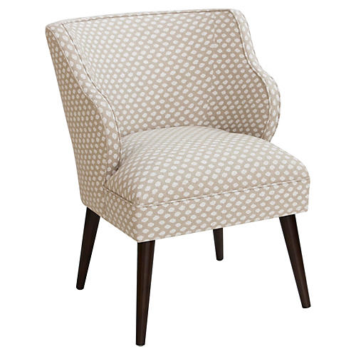 Kira Accent Chair, Flax Dot