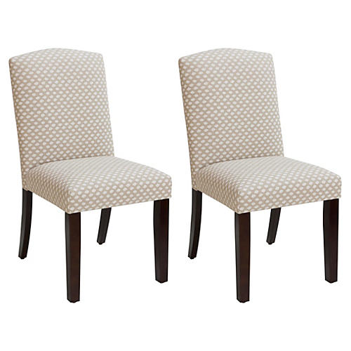 S/2 Marie Side Chairs, Flax Dot