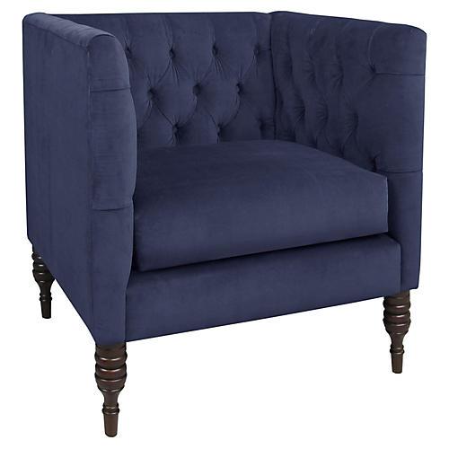 Churchill Tufted Chair, Indigo Velvet