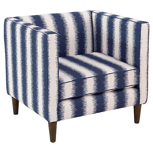 Huey Club Chair, Navy Stripe