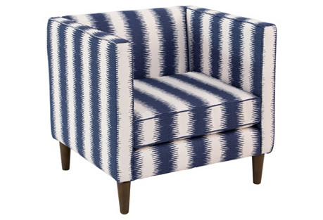 Huey Chair, Navy Stripe