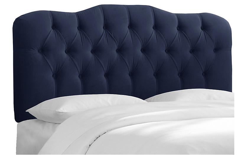 Davidson Tufted Headboard, Navy Velvet
