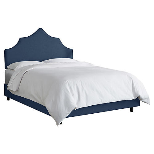 Camille Bed, Navy Linen