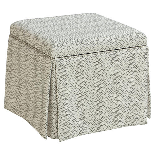 Anne Skirted Storage Ottoman, Pewter