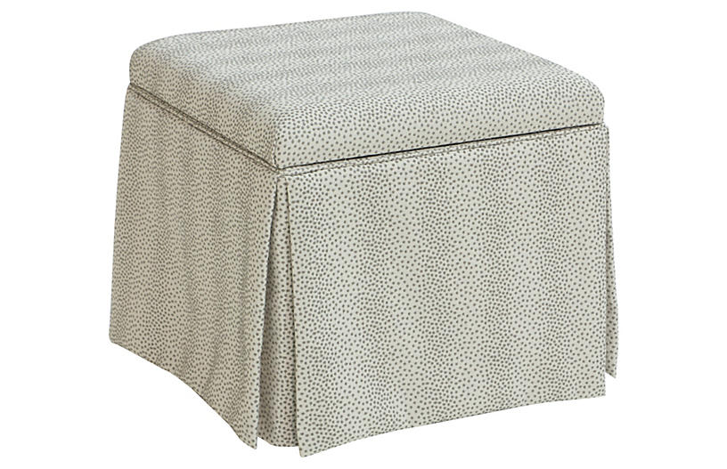 Anne Skirted Storage Ottoman - Pewter