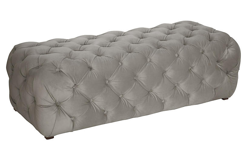 Liane Tufted Bench, Gray Velvet