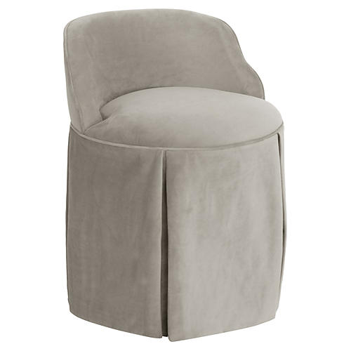 Addie Vanity Stool, Light Gray Velvet