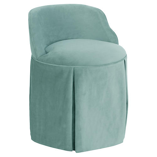 Addie Vanity Stool, Light Blue Velvet