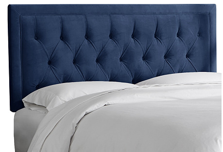 Alix Tufted Headboard, Navy Velvet