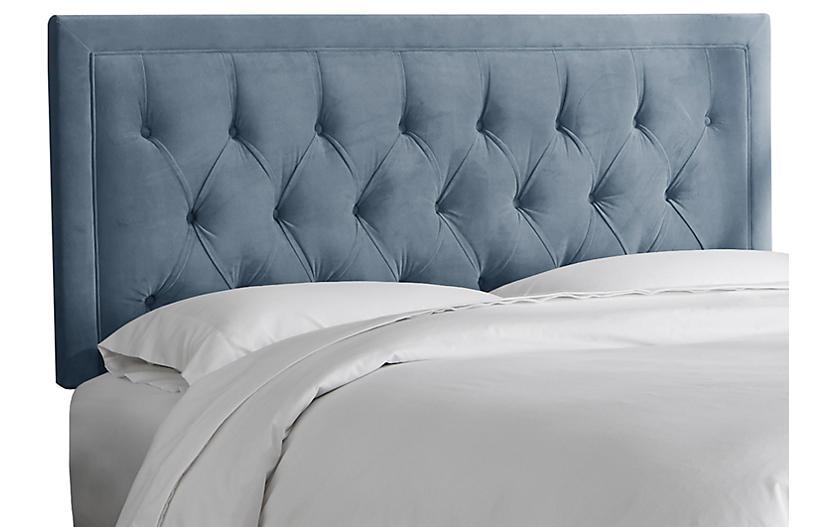 Alix Tufted Headboard, Blue Velvet
