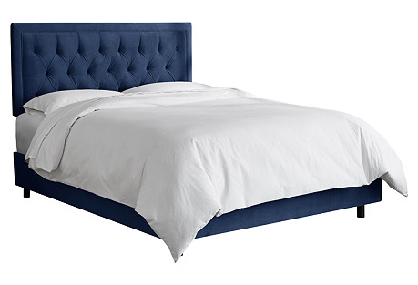 Alix Tufted Bed, Navy Velvet