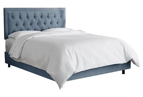Alix Tufted Bed, Blue Velvet