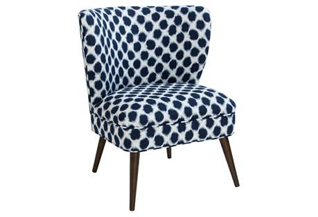 Bailey Chair, Indigo Dots