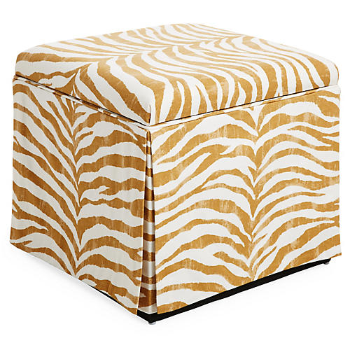 Anne Skirted Storage Ottoman, Ochre Zebra