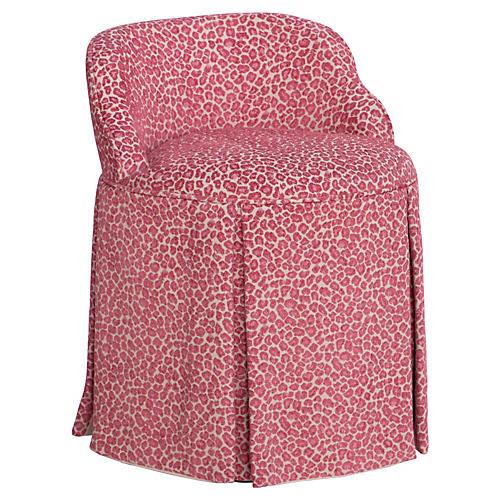 Addie Vanity Stool, Pink Leopard