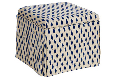 Anne Skirted Storage Ottoman, Blue Spots