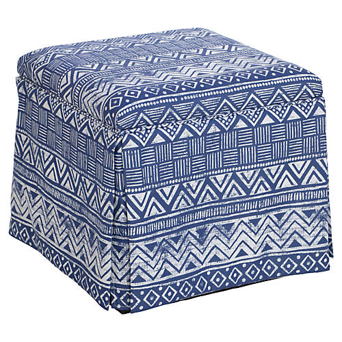 Anne Skirted Storage Ottoman, Indigo Batik