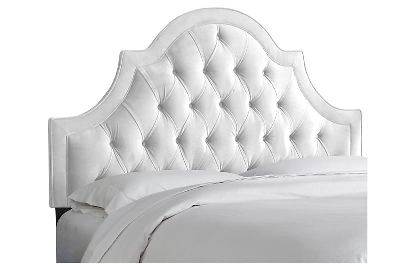 Harvey Headboard, White Velvet