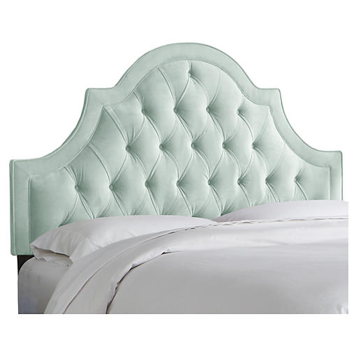 Harvey Tufted Headboard, Light Blue Velvet