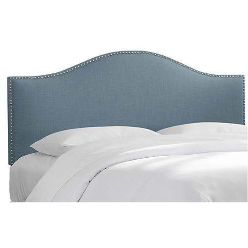 Tallman Nailhead Headboard, French Blue Linen