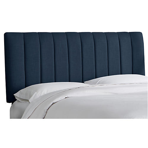 Delmar Channel Headboard, Navy Linen