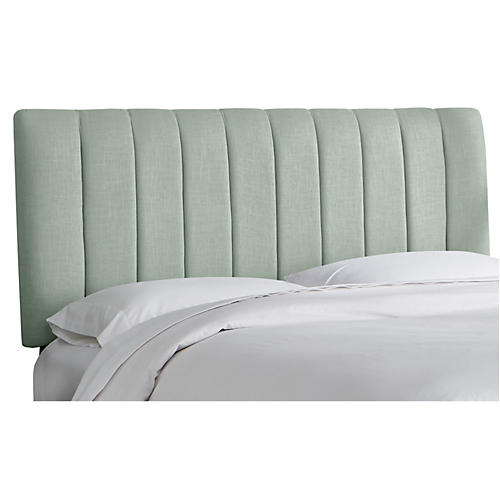 Delmar Channel Headboard, Mint Linen