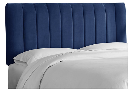 Delmar Channel Headboard, Navy Velvet