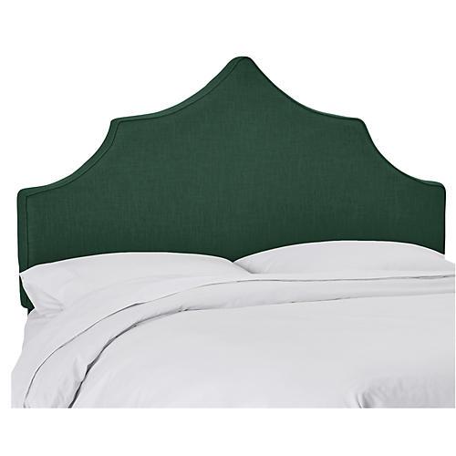 Camille Headboard, Green Linen