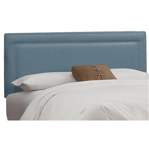 Bardot Headboard, French Blue Linen