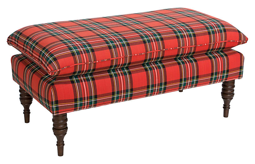 Eva Pillow-Top Bench - Red Tartan