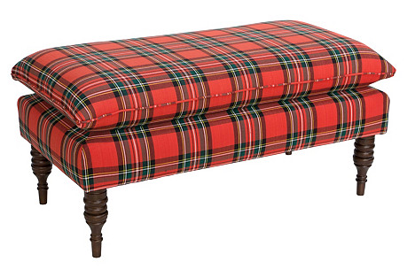 Eva Pillow-Top Bench, Red Plaid