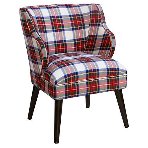 Kira Accent Chair, White Tartan
