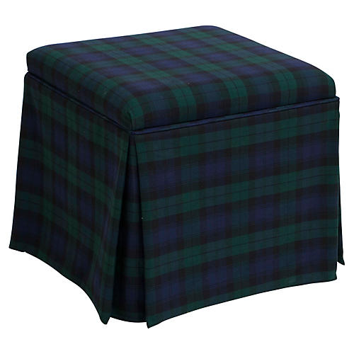 Anne Skirted Storage Ottoman, Navy Plaid
