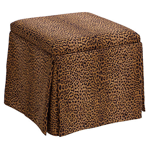 Anne Skirted Storage Ottoman, Cheetah