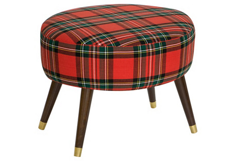 Dani Ottoman, Red/Green Plaid