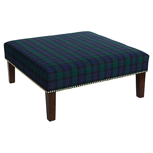 Brinkley Cocktail Ottoman, Navy Plaid