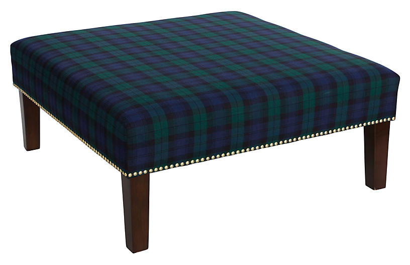 Brinkley Cocktail Ottoman - Navy Plaid