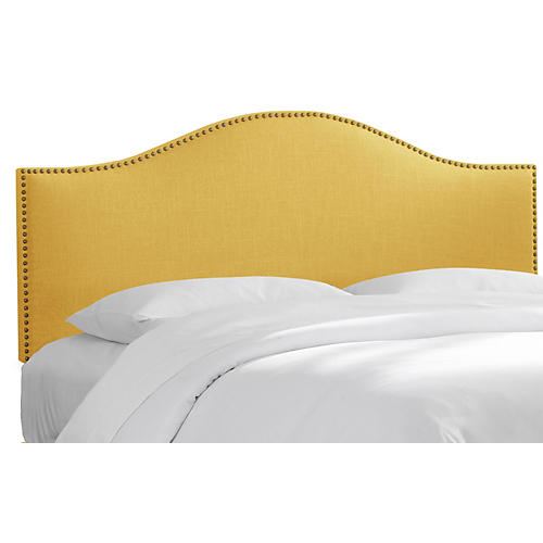 Tallman Nailhead Headboard, Yellow Linen