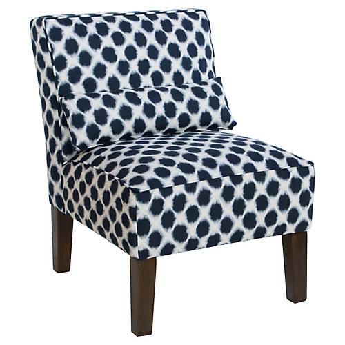 Bergman Armless Accent Chair, Indigo Dot