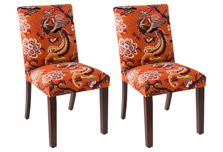 Shannon Burnt Orange Side Chairs, Pair