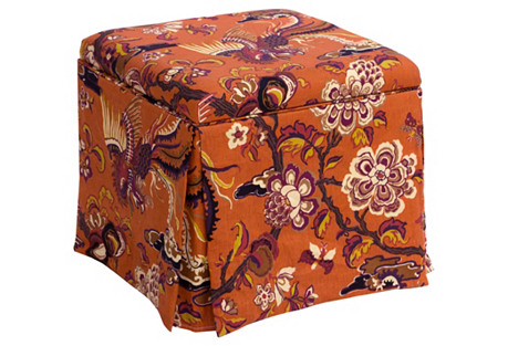 Anne Skirted Ottoman, Burnt Orange