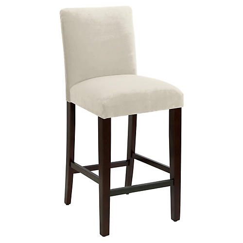 Erin Pleated Barstool, Cream Velvet