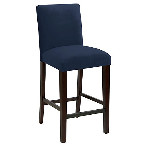 Erin Pleated Barstool, Navy Velvet